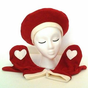 Hearts Ivory Brick Red Red Mittens & Hat handmade